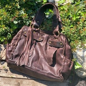 Distressed brown soft leather shoulder bag + pouch